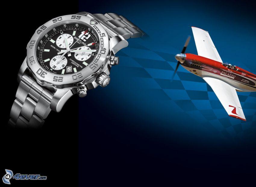 hodinky, lietadlo