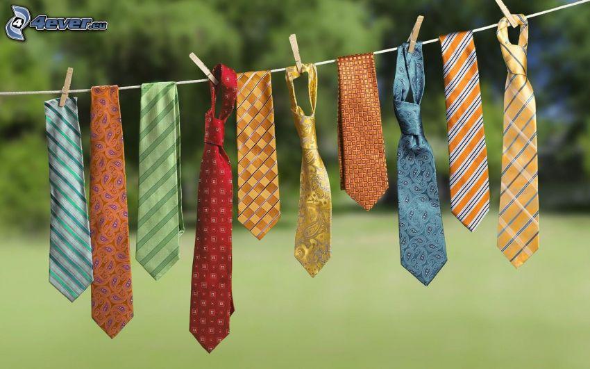 kravaty, štipce na šnúre