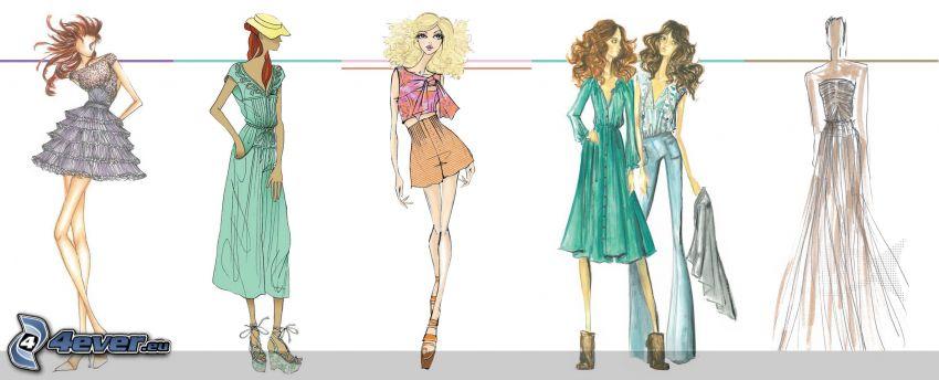 kreslené ženy, oblečenie, šaty