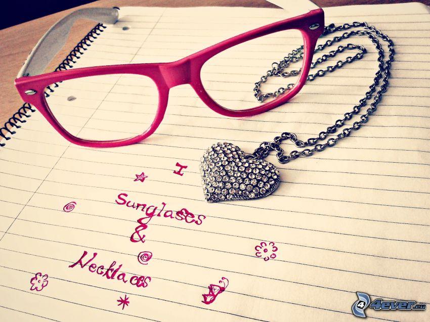slnečné okuliare, náhrdelník
