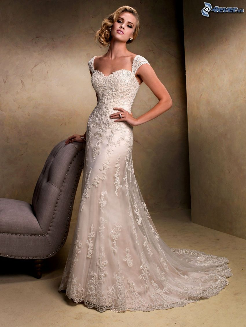 svadobné šaty, nevesta, kreslo