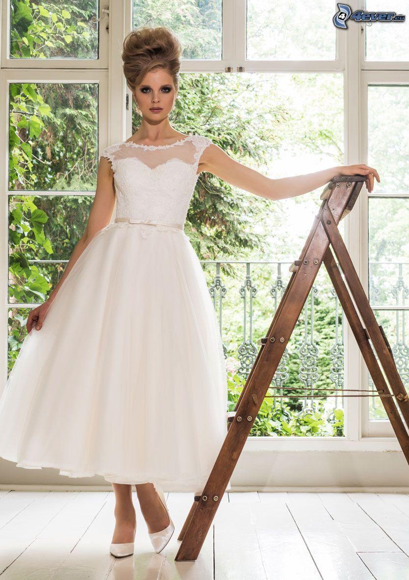 svadobné šaty, nevesta, rebrík