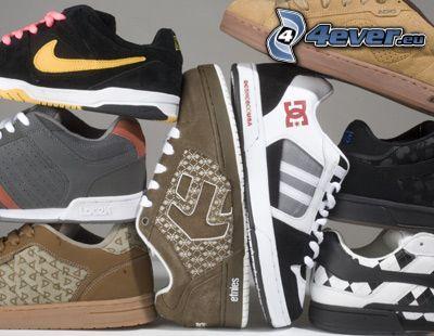 topánky, farebné tenisky, Nike, DC Shoes