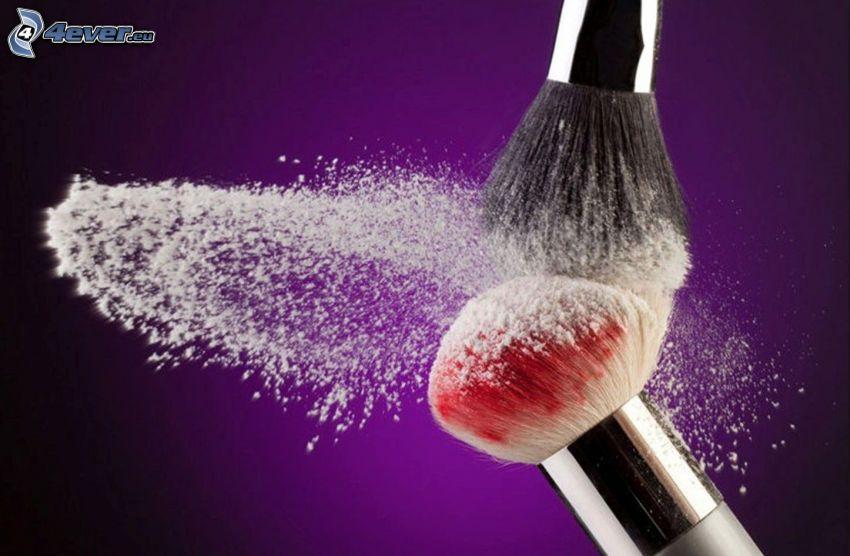 štetce, make-up, prášok