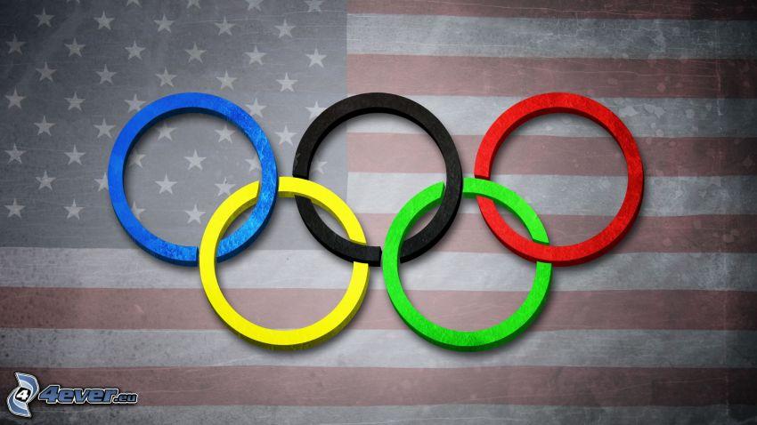 olympijské kruhy, vlajka USA