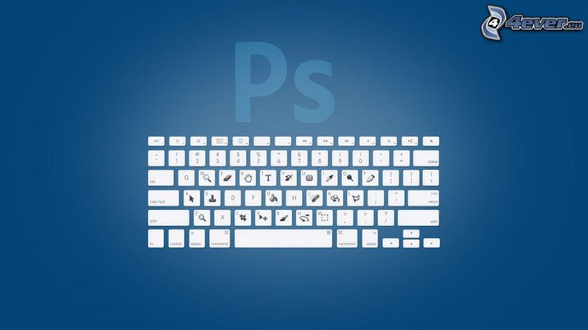 Photoshop, logo, ikony, klávesnica