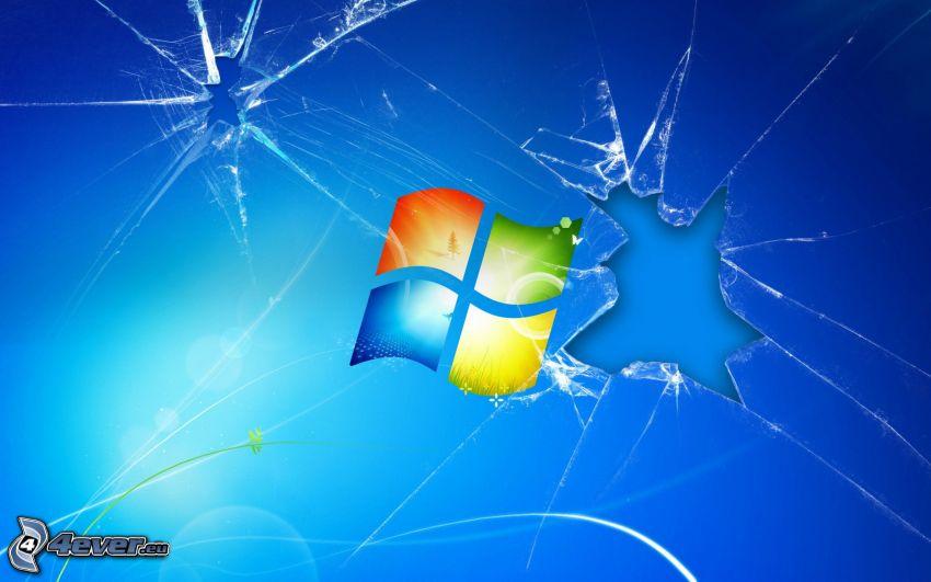 Windows, rozbité sklo
