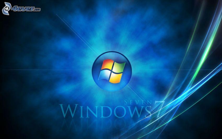 Windows 7, modré čiary, modré pozadie
