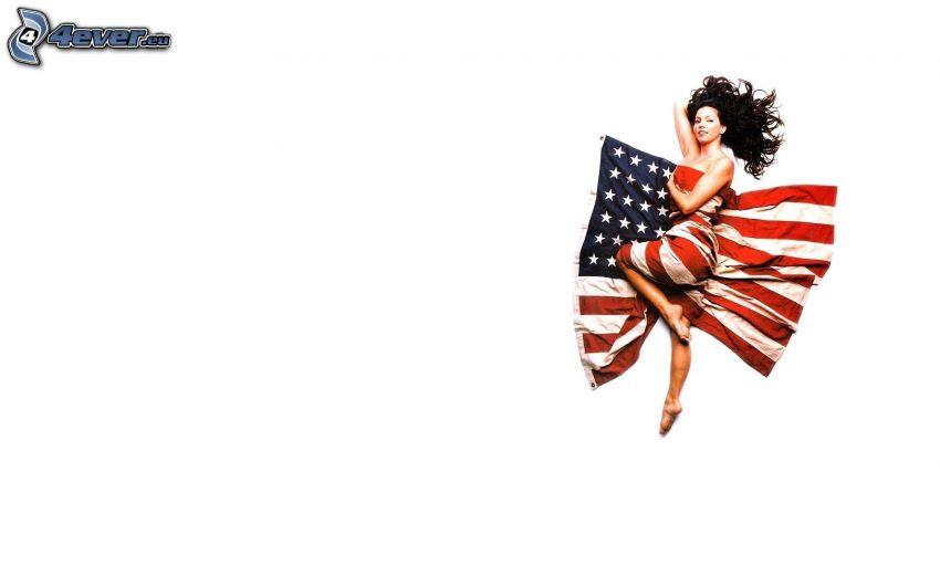 brunetka, americká vlajka
