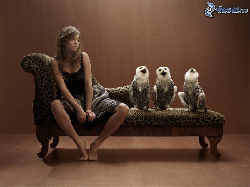 brunetka, sovy, gauč