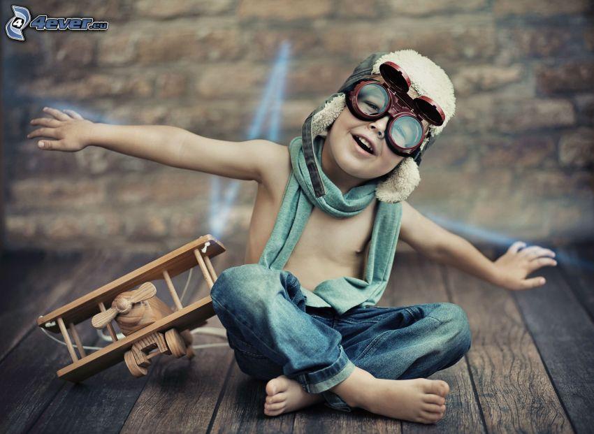 chlapec, pilot, lietadlo