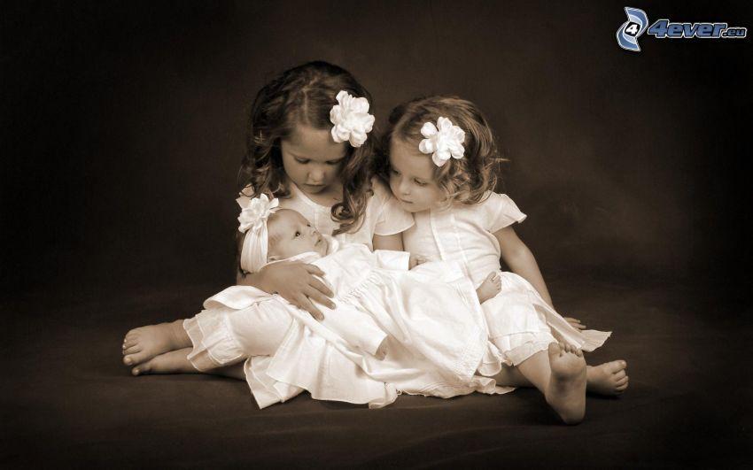 deti, dievčatá, bábätko, čiernobiele
