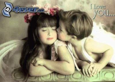 detský bozk, láska, deti