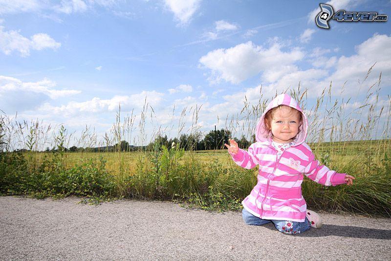 dieťa, tráva, cesta, lúka, pole, oblaky
