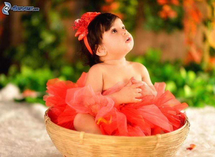 dievčatko, čelenka, košík