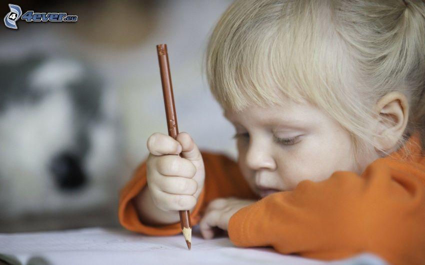 dievčatko, ceruzka