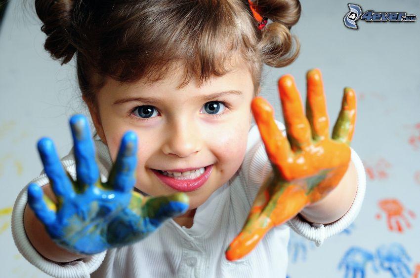 dievčatko, ruky, farby
