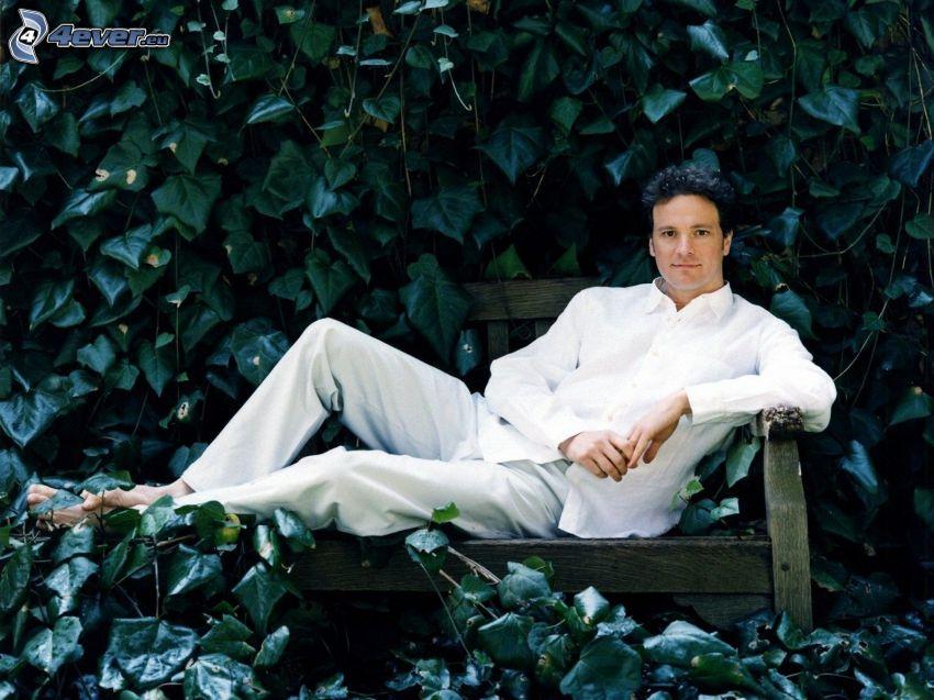 Colin Firth, zelené listy, muž na lavičke