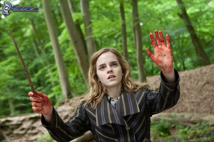 Hermiona, Emma Watson, Harry Potter, krvavá ruka