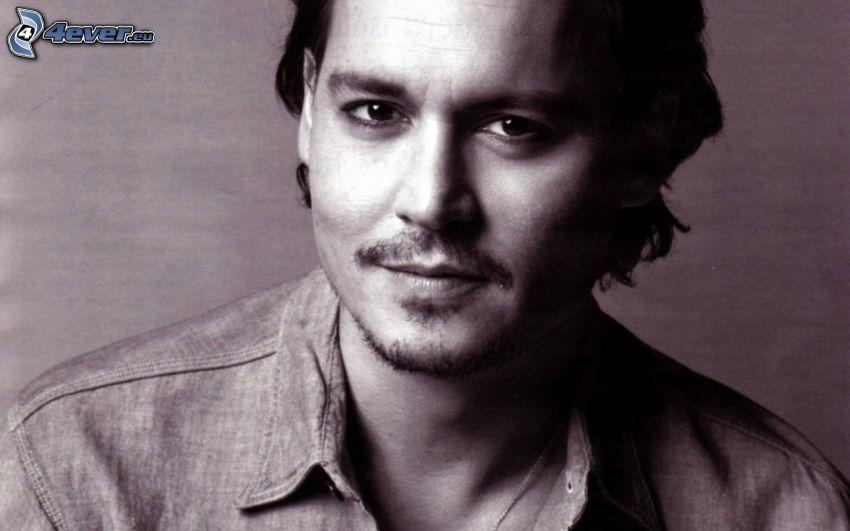 Johnny Depp, čiernobiela fotka