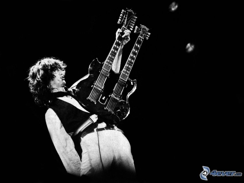 Jimmy Page, gitarista, čiernobiela fotka