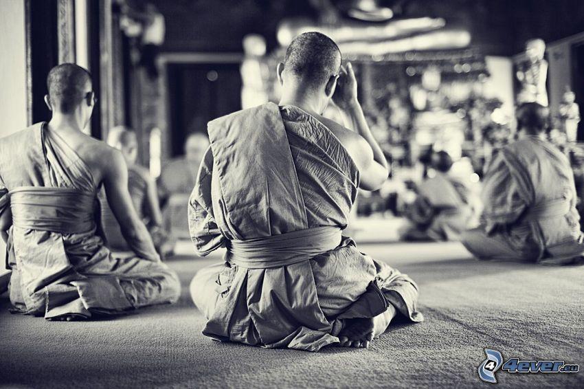 mnísi, modlitba, čiernobiela fotka