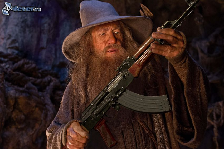 muž so zbraňou, kalašnikov