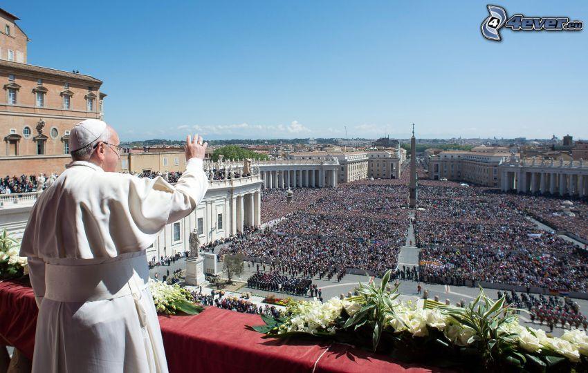pápež, dav ľudí, pozdrav, Vatikán, Námestie svätého Petra