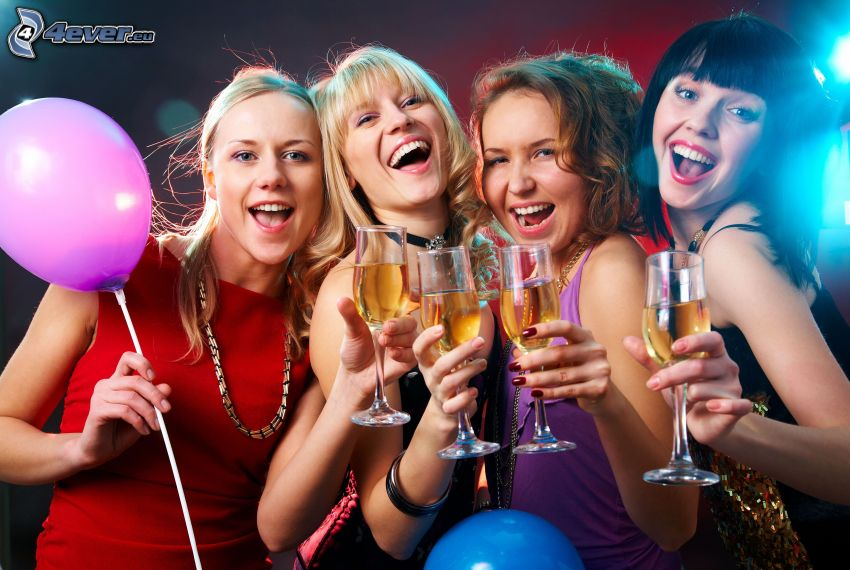 párty, šampanské, smiech, balón