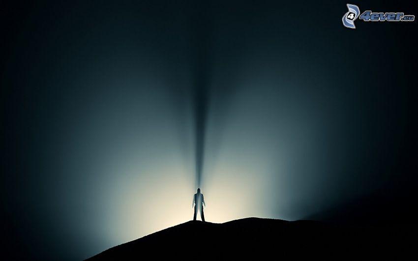 silueta chlapa, svetlo