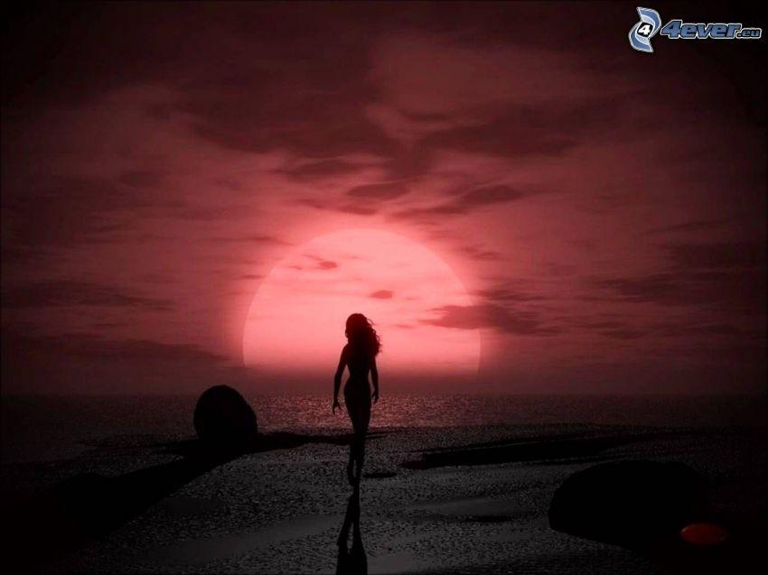 silueta ženy, západ slnka za morom