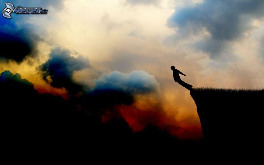 skok, adrenalín, silueta chlapa, oblaky