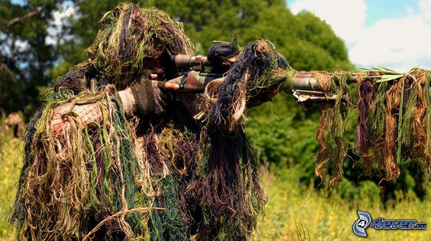 sniper, vojak so zbraňou, maskovanie