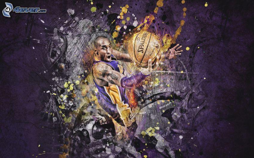 basketbalista, lopta, abstrakt