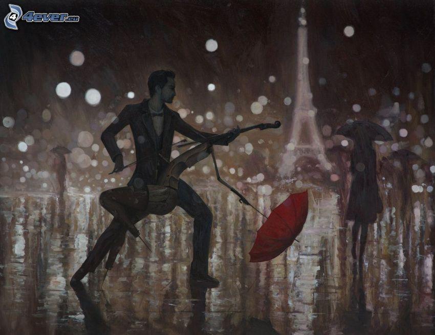 tanec v daždi, violončelo, muž s dáždnikom, silueta ženy, Eiffelova veža, kreslené