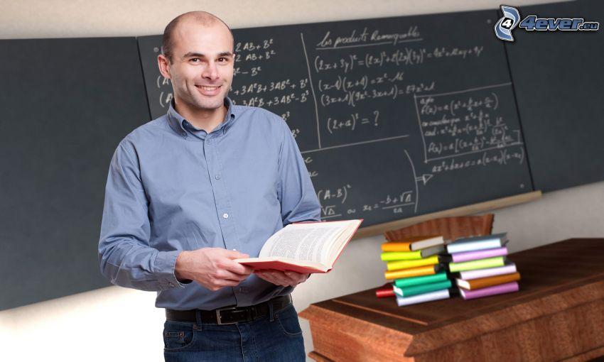 učiteľ, trieda, tabuľa, knihy