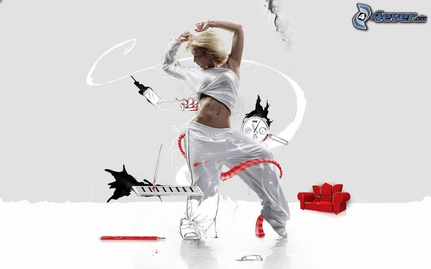 blondínka, hip hop, tanec
