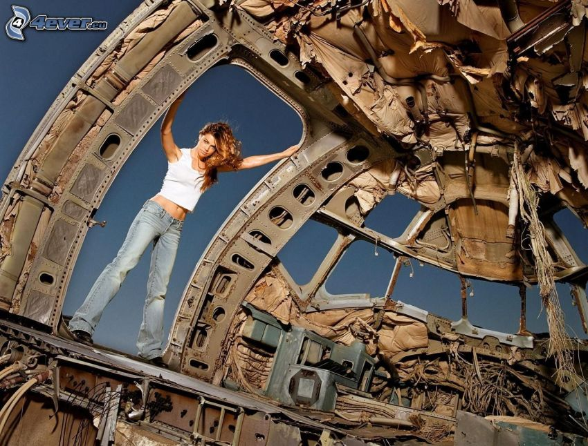 brunetka, lietadlo, vrak