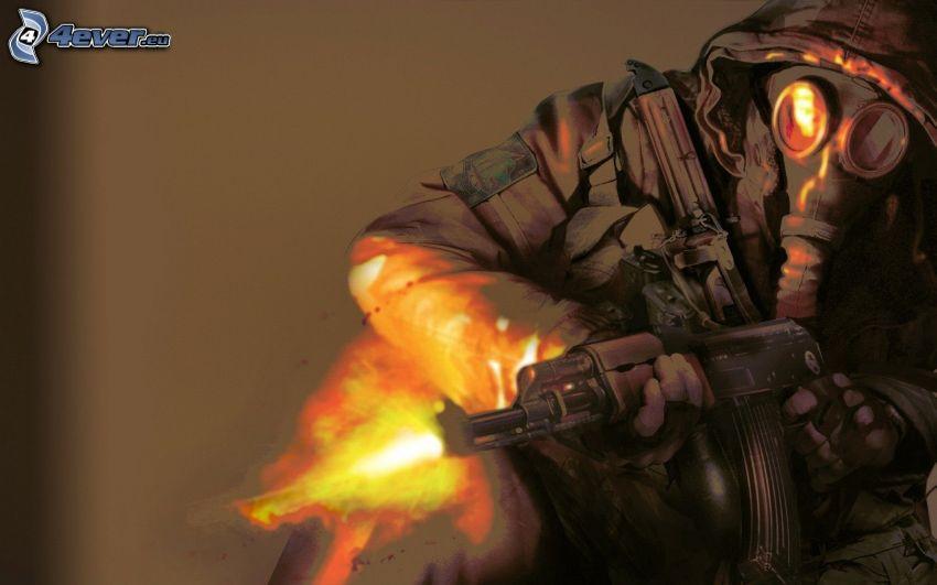 vojak so zbraňou, človek v plynovej maske, streľba
