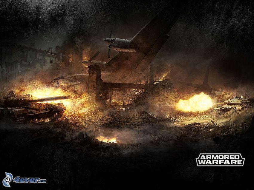 Armored Warfare, tanky, lietadlo, streľba, oheň, zničené mesto