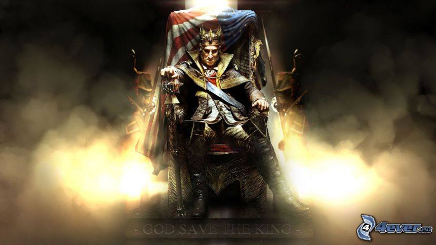 Assassin's Creed 3, kráľ, stolička, vlajka