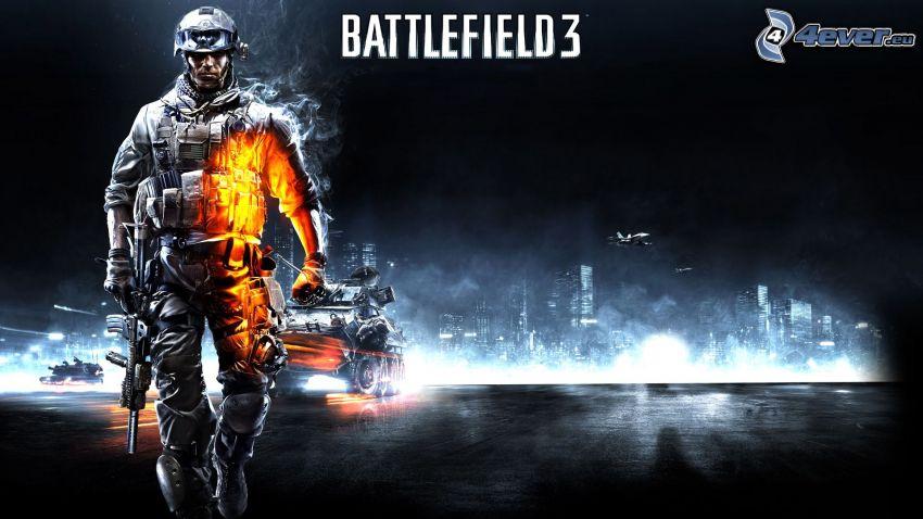 Battlefield 3, vojak, tank, stíhačka, vojna