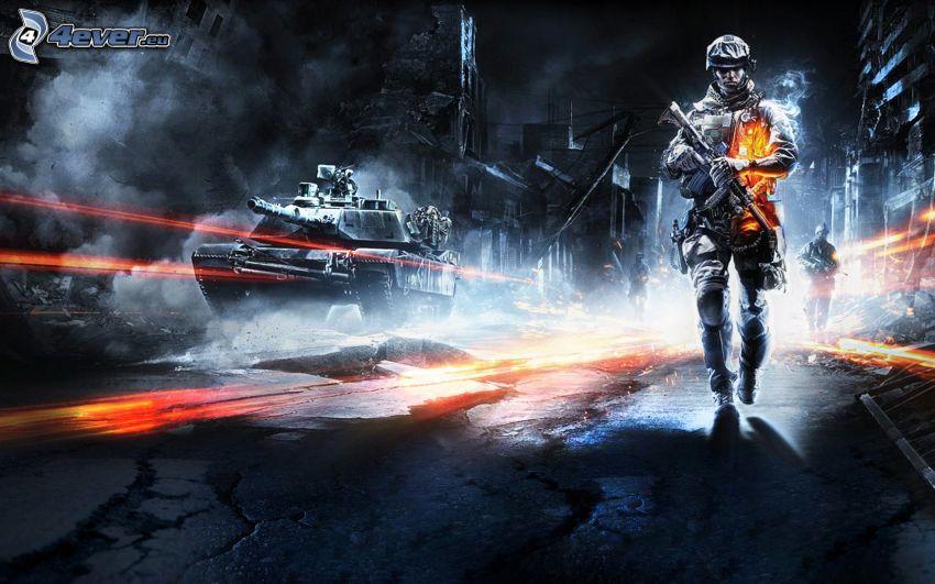 Battlefield 3, vojak, tank