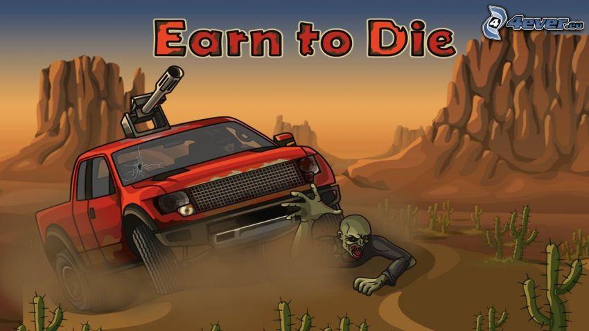 Earn to Die, púšť, zombie, terénne auto, kaktusy