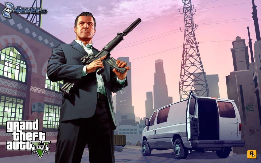 Grand Theft Auto V, dodávka, zbraň, mesto