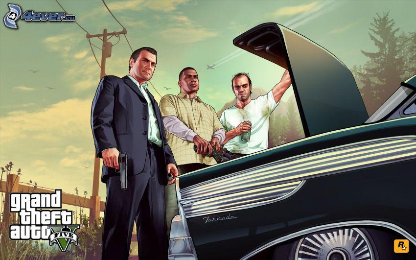 GTA 5, auto, muž so zbraňou, muž v obleku, elektrické vedenie