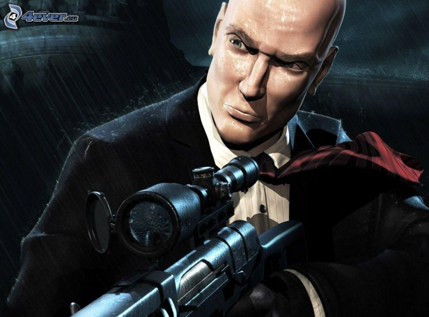 Hitman, muž so zbraňou, muž v obleku, sniper