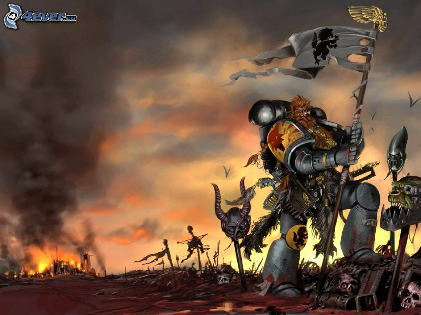Warhammer, muž, brnenie, oheň, dym