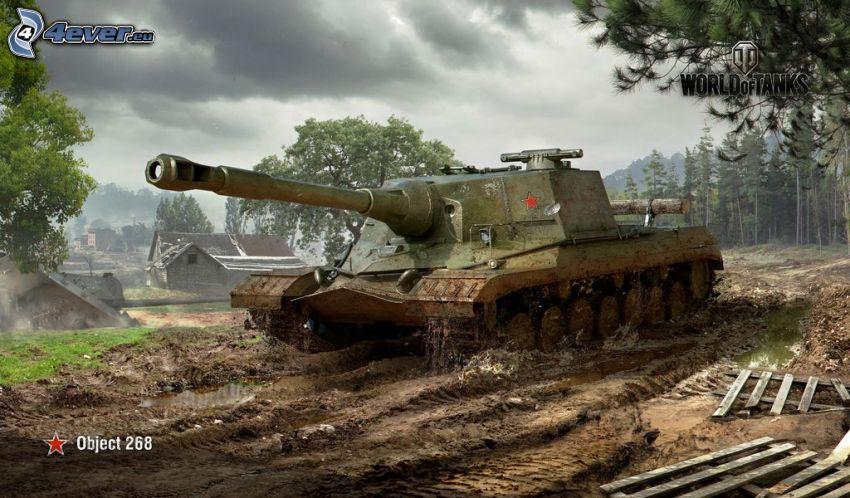 World of Tanks, domčeky, les, tmavé oblaky