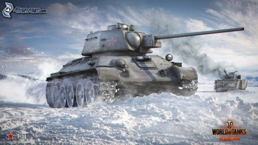 World of Tanks, T-34, tanky, sneh